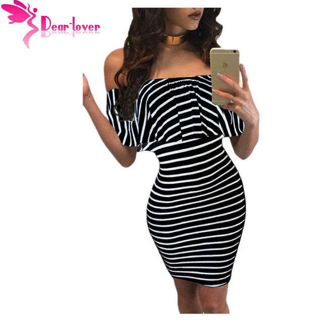 Dear Lover Striped Dresses Summer Slash Neck Black White Women Off-shoulder Bodycon Dress Vestidos Listrado Curto Cheap LC22792 - xfunshopping