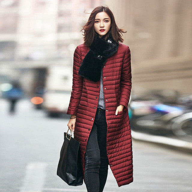 LOLEN Women's Clothing in Autumn and Winter Fashion Coats Long Section of Thin Slim Straight Down Jacket - xfunshopping