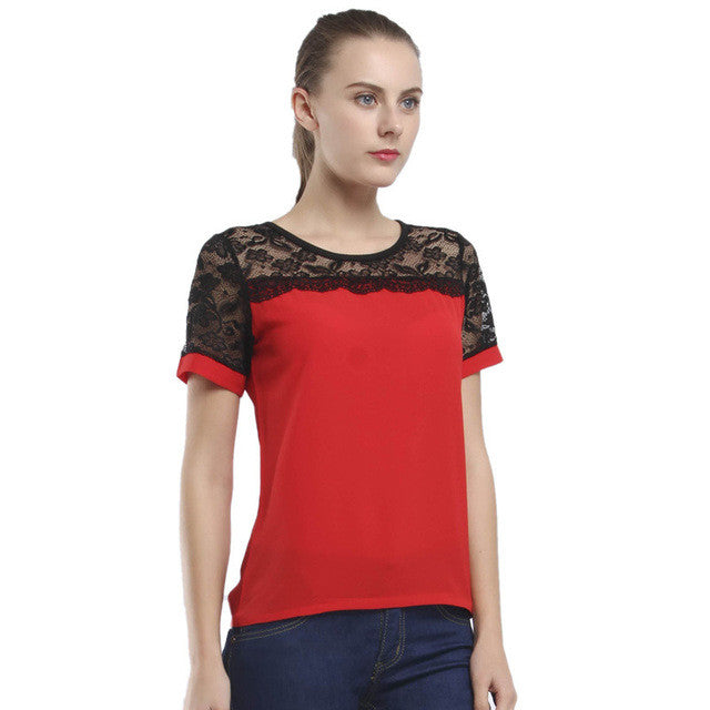 Women Blouses Lace Chiffon Blouse Blusa Feminina Tops Short Sleeve Fashion Chemise Femme Woman Shirts Plus Size 5XL/6XL Red - xfunshopping