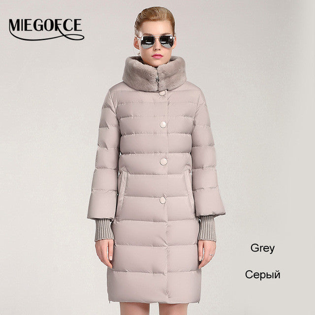 MIEGOFCE 2015 winter duck down jacket  women  long coat parkas thickening Female Warm Clothes Rabbit fur collar High Quality - xfunshopping