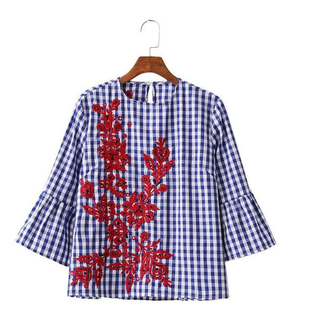 Women floral embroidery plaid blouse full cotton three quarter flare sleeve loose shirts fashion streetwear tops blusas LT1194 - xfunshopping