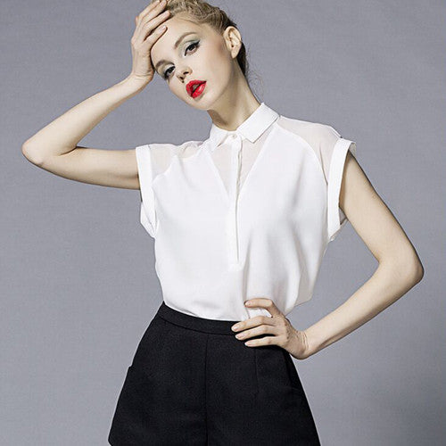 2017 Summer Style Blouse Women Fashion White Chiffon Elegant Shirt Female Work Wear Office Ladies OL Tops Women Clothing - xfunshopping