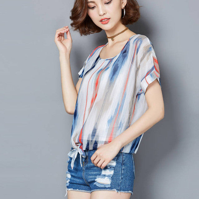 Soperwillton 2016 New Summer Women Blouse Plus Size 6XL Striped Shirt Elegant Female Tops Chiffon Blusas Office Work Clothes D93