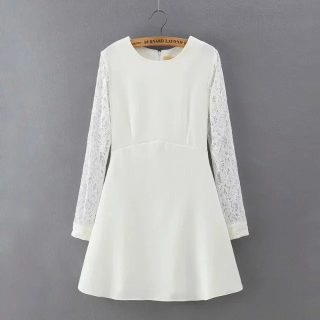 2016 spring summer  lace stitching long sleeve cultivate white black women causal dress - xfunshopping