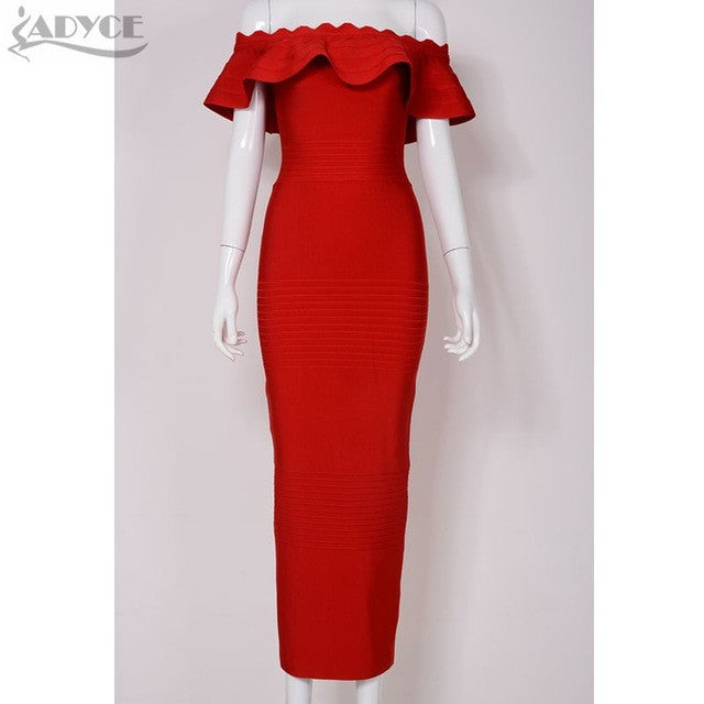 2017 Ruffles blue pink red orange purple Off The Shoulder strapless Bandage Dress Celenrity Bodycon party Dress wholesale - xfunshopping