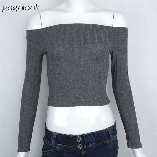 Gagalook 2016 Brand New Blusas Blouse Women Female Femme White Long Sleeve Off Shoulder Top Cotton Sexy Fashion Short 90'S T0895 - xfunshopping