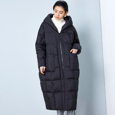 BC042 New Arrival Winter 2016 women casual loose cocoon coat thick x long hooded white duck down jacket - xfunshopping