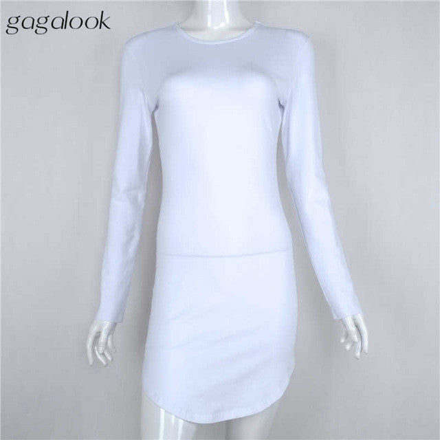 Gagalook 2016 Brand Winter Women Dress Little Black White Short Party Robe Sexy Bodycon Long Sleeve Cotton Casual Vestidos D0745 - xfunshopping
