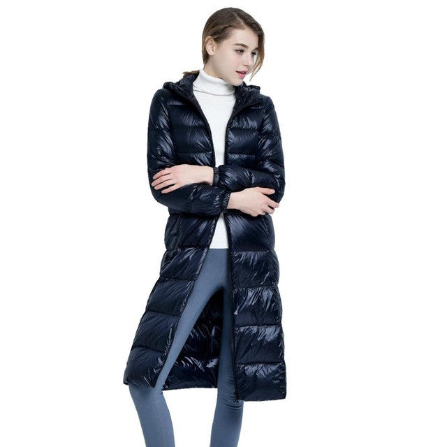 2017 New High-End Brand Ladies Winter Warm Coat Women Ultra Light 640 Filling Prower Long White Duck Down Jacket Women Jackets - xfunshopping