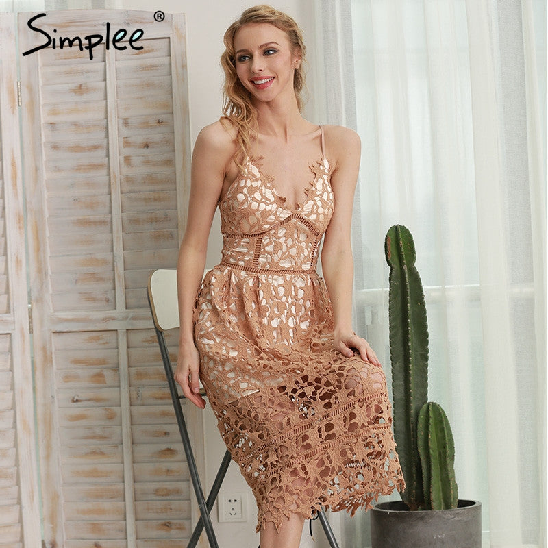 Simplee Padded hollow out lace dress Lined summer dress 2017 women dress shirt Zipper party sundress vestido de festa - xfunshopping