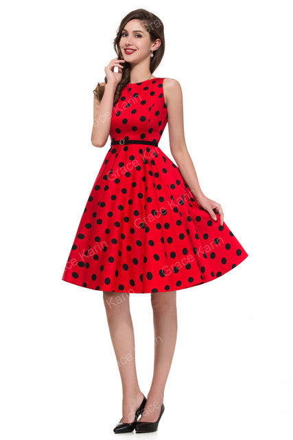 Belle Poque Women Summer Style Inspired Vintage Clothing Retro 50s Big Swing Audrey Hepburn Polka Dot Plus Size Woman Dresses - xfunshopping