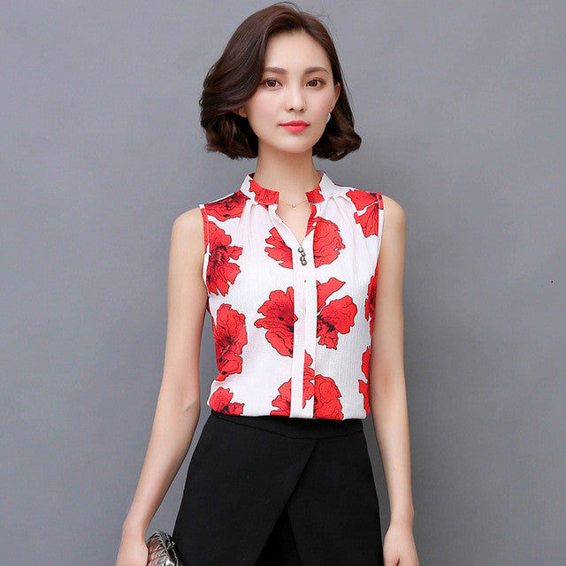 Women Blouses 2017 Casual Beading Elegant OL Chiffon Blouse Slim Sleeveless Work Wear Blusas Feminina Tops Shirts Plus size - xfunshopping