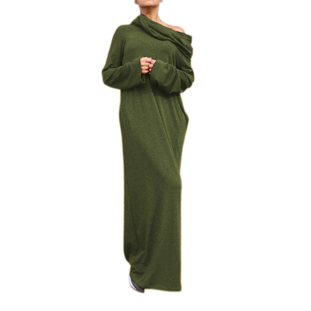 Preself Women's Knit Off-Shoulder Wrap Dress Loose Hooded Maxi Dresses Autumn Winter Casual long Sleeves Plus Size Party Vestido - xfunshopping