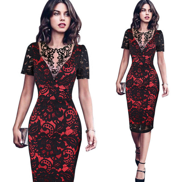 Vfemage Womens Embroidery Elegant Vintage Embroidered Lace Casual Party Mother of Bride Special Occasion Bodycon Dress 3086 - xfunshopping