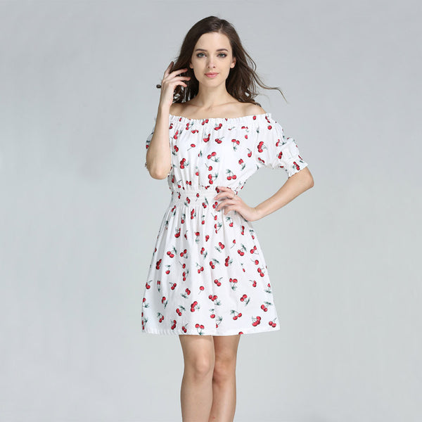 2016 Summer Style Casual 100% Cotton Women Dresses Female New Fashion Fresh Cherry Print Cute Pleated Vestidos Dress