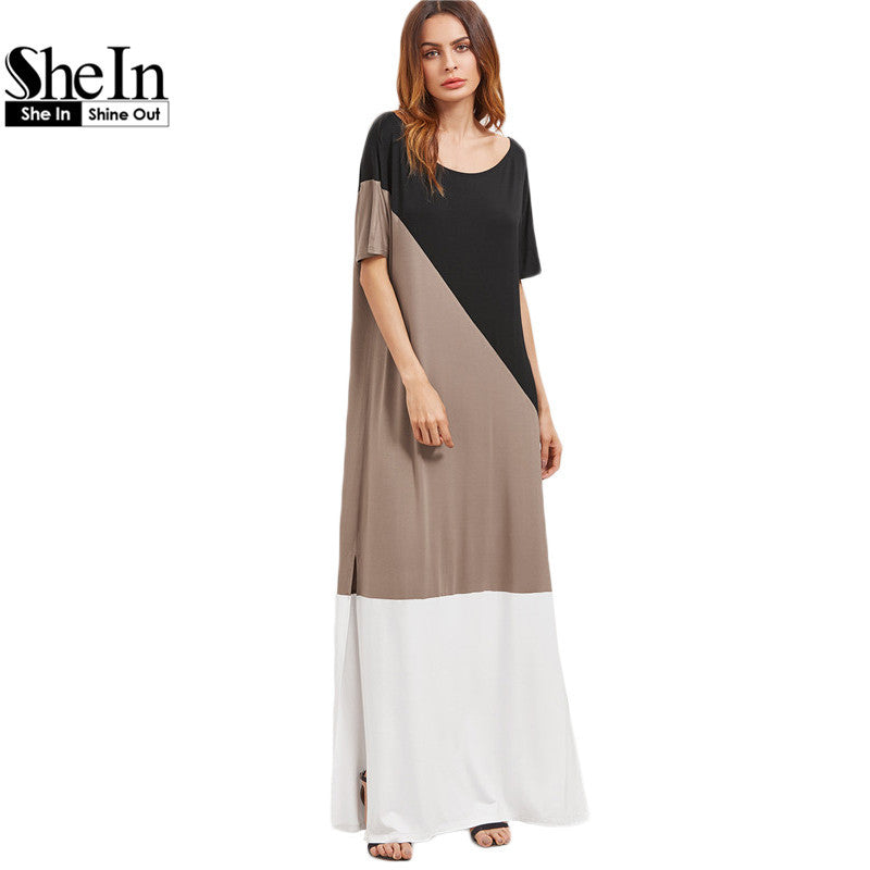 SheIn Color Block Scoop Neck Side Slit Maxi Tee Dress Multicolor Half Sleeve Casual Shift Women Summer Dresses - xfunshopping
