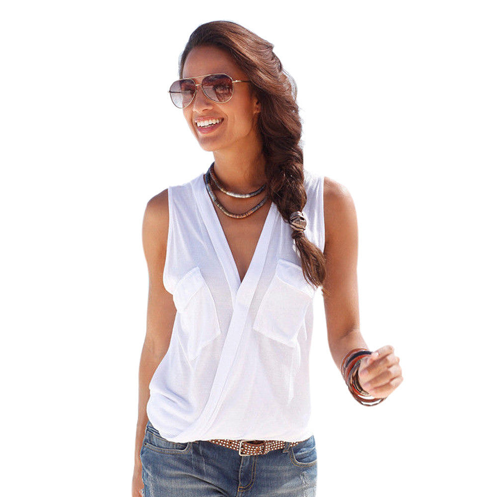 Sexy Summer Female Blouses Deep V-neck Sleeveless Solid Tops Fashion Button Pockets Beach Blouse Tunic Casual Blusas Vest Femme - xfunshopping