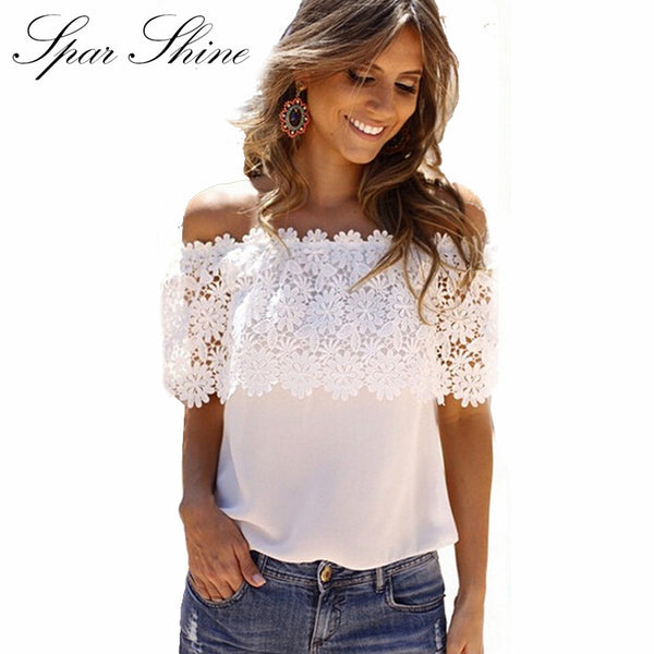 2017 Blusas Femininas  Women Blouse White Lace Sexy Off Shoulder Short Sleeve Renda Crochet Casual Shirts Tops