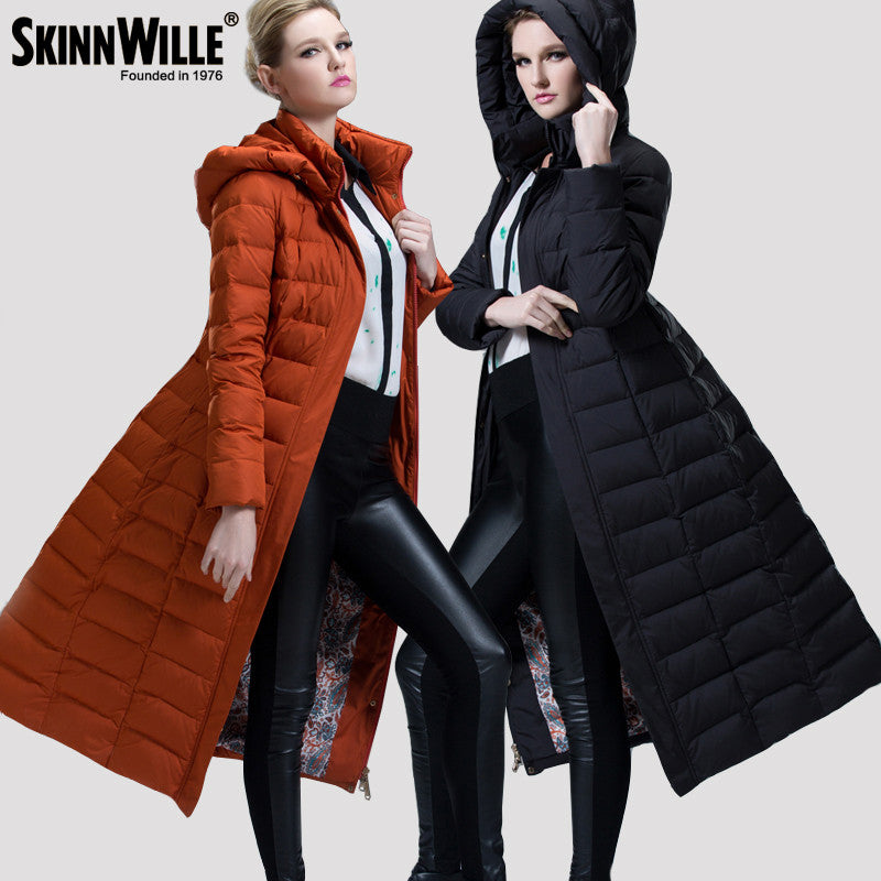 Women's Thickened Hooded Down Jacket For Women Long Overcoat Coat Women's Long Maxi Puffer Coat Outwear Zip Down Coats - xfunshopping