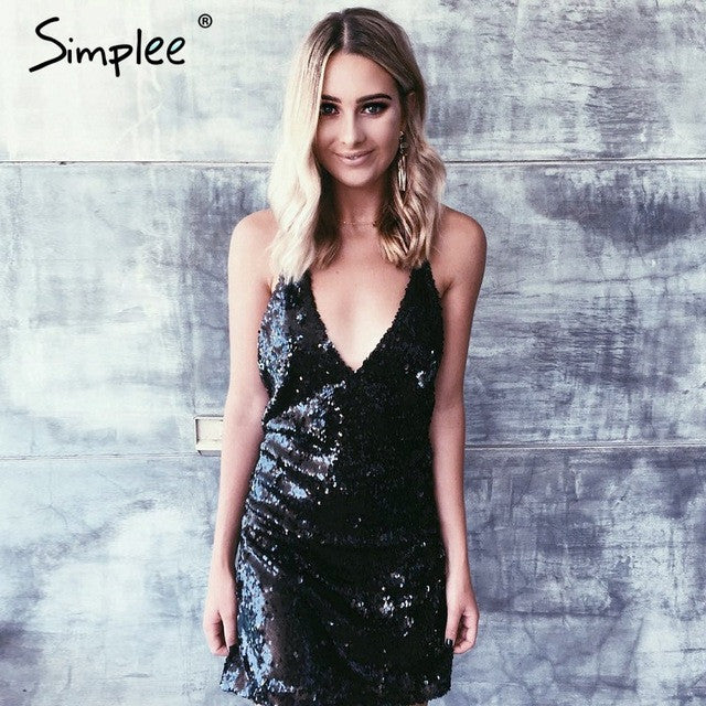 Simplee Deep v neck gold sequin sexy dress Women summer backless black short dress Elegant party club dresses vestidos de festa - xfunshopping