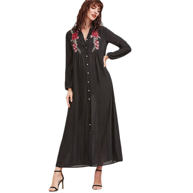 SheIn Black Embroidered Rose Patch Button Up Shirt Dress Spring Long Sleeve Maxi Dress Womens Vintage A Line Dress - xfunshopping