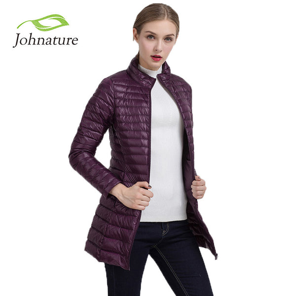 2017 Spring Warm New Women Long Thin Down Jacket Slim Korean Stand Collar White Duck Down Zipper Long Coat S-4XL 8 Colors
