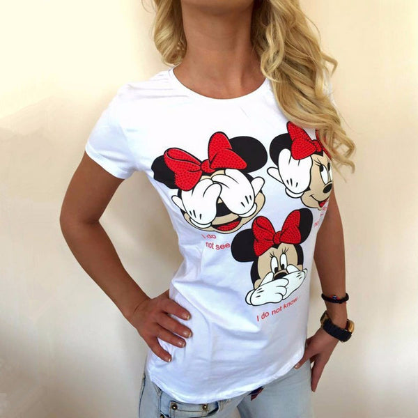2017 New Women Blusas Funny Mouse Prints Short Sleeve O-Neck Blouses Casual Solid Harajuku Tee Tops White Plus Size Blouse Shirt