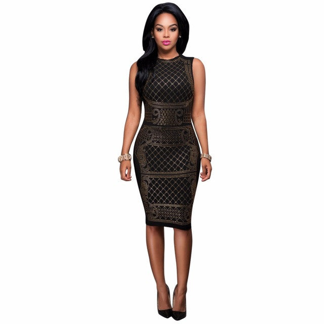 Sedrinuo Plus Size Sexy Sleeveless Diamonds Decoration Bodycon Party Dresses Knee Length Black sequin Dresses - xfunshopping