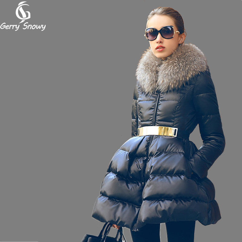 Winter Coat Women's 2016 New Luxury Fur Collar DOWN JACKET Girls Long Jacket Parka Black Size S-XXL Big skirt hem Down coat - xfunshopping