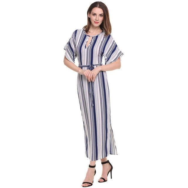 ANGVNS Long Striped Dress Elegant Lady 2017 Summer Print Batwing Half Sleeve Sexy Vestidos Casual Maxi Dresses Women - xfunshopping