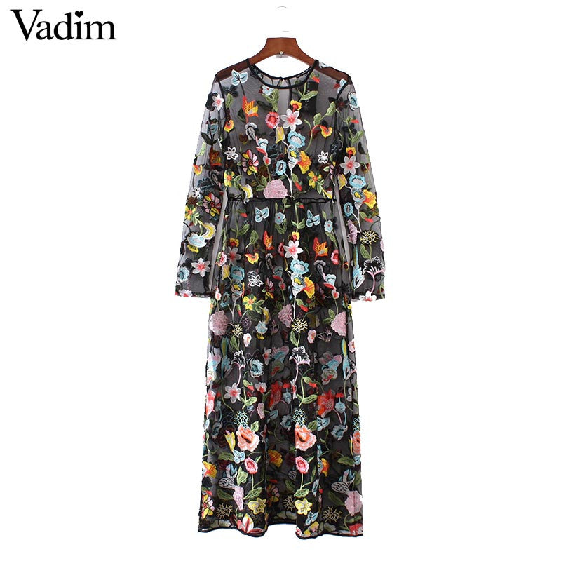 Women sexy floral embroidery mesh maxi dress transparent long sleeve o neck dress ladies brand dresses vestidos QZ2857 - xfunshopping