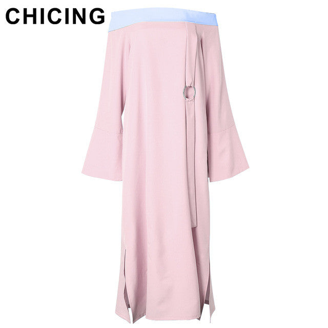 CHICING Women Elegant Color Block Off Shoulder Flare Sleeves Maxi Dresses 2017 Ladies Spring Ribbon Slit Dress vestidos A1703027 - xfunshopping