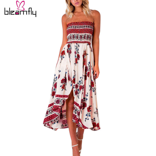 2017 Women Long Maxi Dresses Summer Sexy Party Beach Casual Dress Sleeveless Floral robe Sundress Boho Plus Size Vestidos