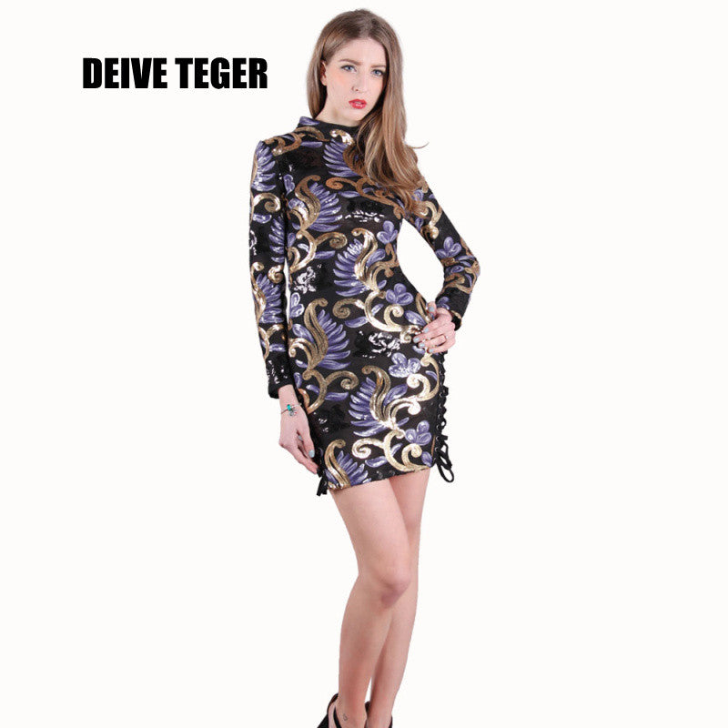DEIVE TEGER NEW arrival spring summer hollow out sequined beautiful dress 2016 purple and gold sequin mini dress BY072 - xfunshopping