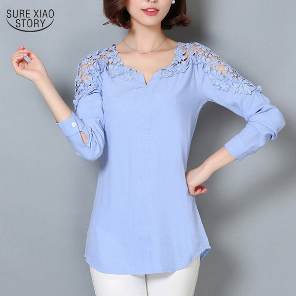 2016 Lace Sleeve Blouse Shirt Women V-Neck Floral Lace Sexy Casual Linen Shirts Plus Size Lady Shirt  Camisas Femininas 185B 25