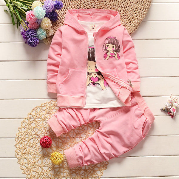 1-4Y 2017 New Baby Girls clothing Sets kids 3PCS coat+ T shirt + Pants children mother & kids sport suit for girl outfits TZ-13 - xfunshopping