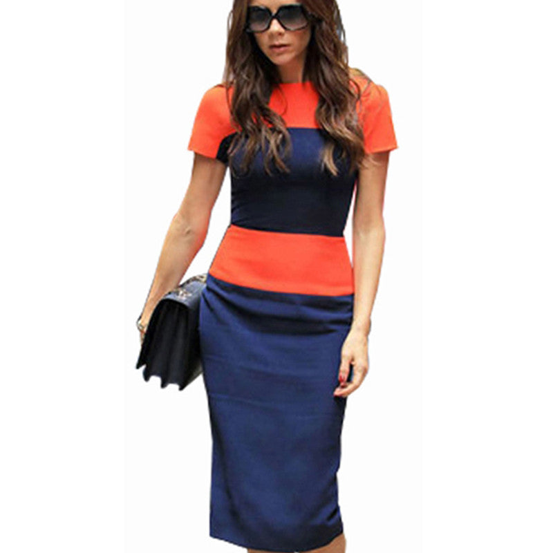 Fashion Stripe Women Dress Celeb Style Casual Career Business Sheath Patchwork Pencil Back Zipper Wiggle Party Dresses E463 - xfunshopping