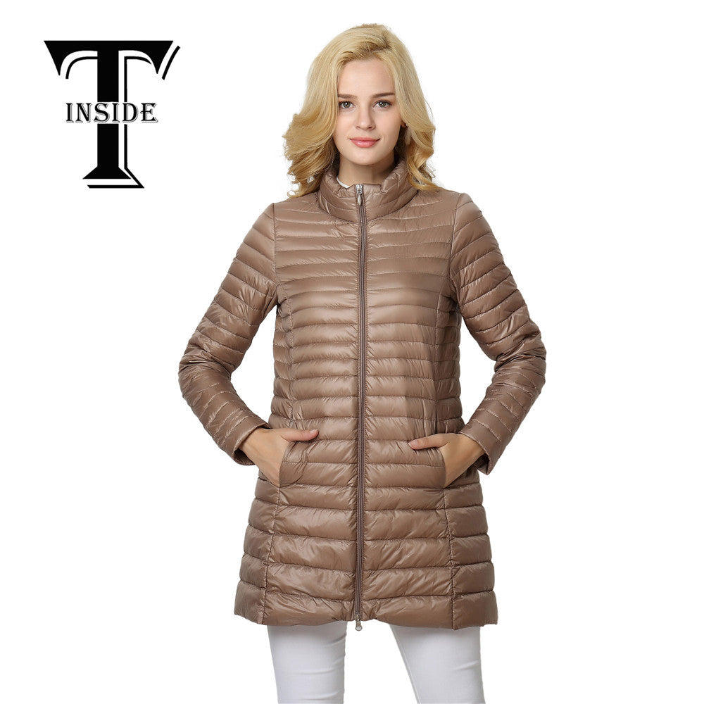 T-INSIDE 2016 Top Quality Brand Ladies Long Autumn Overcoat Women Ultra Light 90% White Duck Down Coat With Bag ladies Jackets