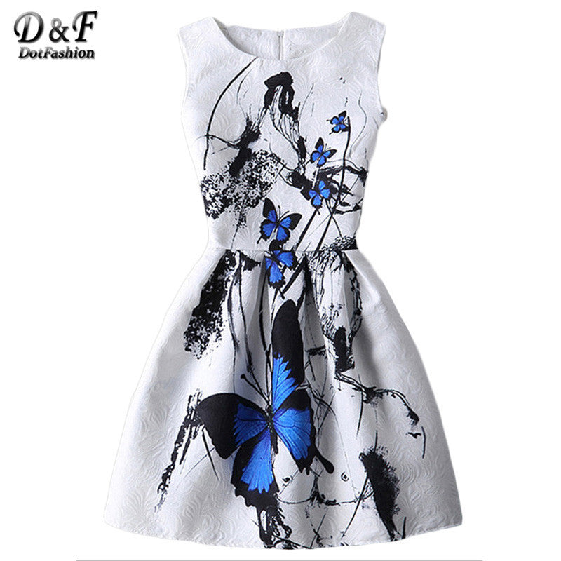 Dotfashion White Butterfly Print Fit and Flare Jacquard Dress Summer Ladies Round Neck Sleeveless Short Dress - xfunshopping