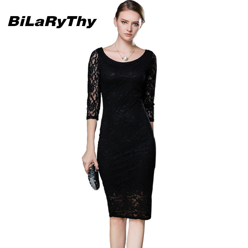Women Black Lace Autumn Dress Ladies Three Quarter Pencil Wrap Celebrity Elegant Midi Bodycon Party Bandage Dresses Plus Size - xfunshopping