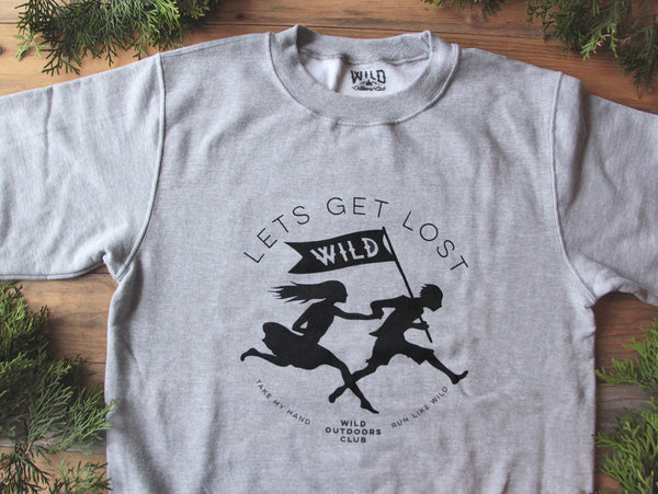 """LETS GET LOST"" CREW NECK - SWEATSHIRT / HEATHER GREY"