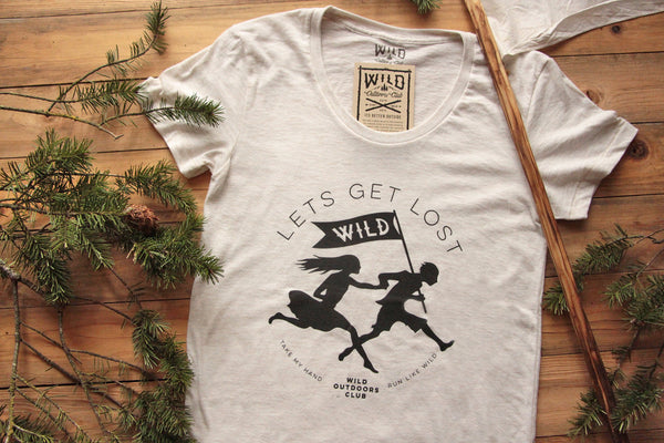"""LETS GET LOST"" - TRI-BLEND WOMEN'S TEE - OATMEAL"