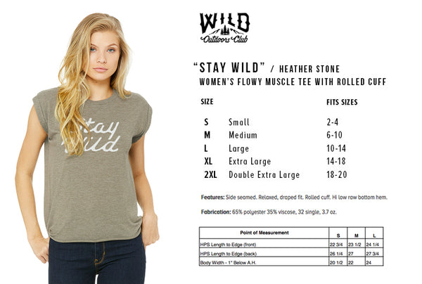"""STAY WILD"" - WOMEN'S  FLOWY MUSCLE TEE - HEATHER STONE"