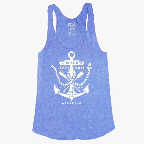 """ANCHOR"" - WOMEN'S TRI-BLEND RACER-BACK TANK - BLUE HEATHER"