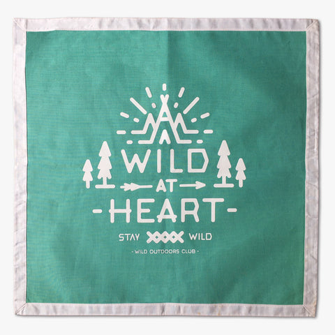 """WILD AT HEART"" - POCKET FLAG / TURQUOISE"