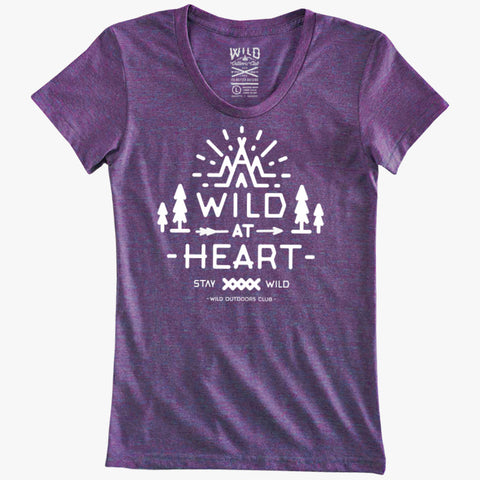 """WILD AT HEART"" - WOMEN'S TRI-BLEND TEE - PURPLE ORCHID"