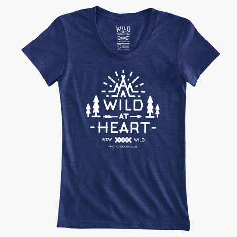 """WILD AT HEART"" - WOMEN'S TRI-BLEND TEE - PACIFIC HEATHER"