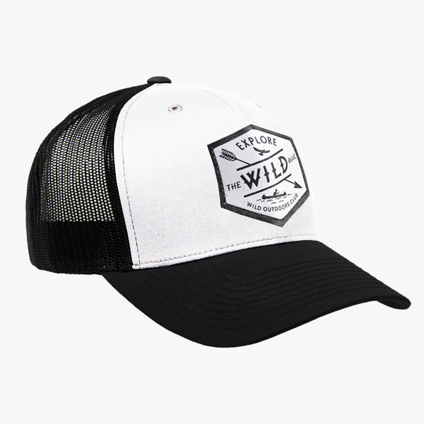 WILD BLUE - SNAPBACK TRUCKER HAT - WHITE/BLACK