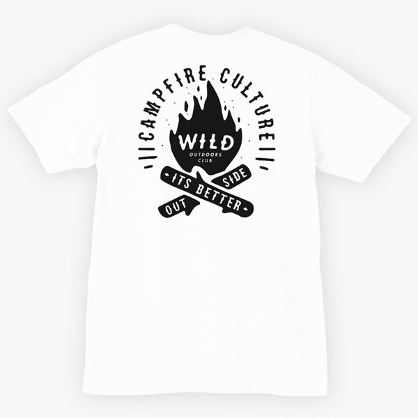"""CAMPFIRE CULTURE""  MENS V-NECK TEE - WHITE"