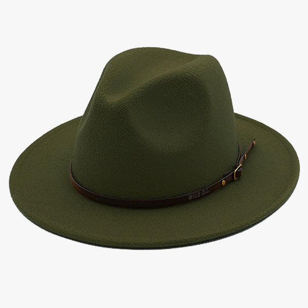 """EXPEDITION"" - FELTED WIDE BRIM FEDORA - DARK OLIVE"